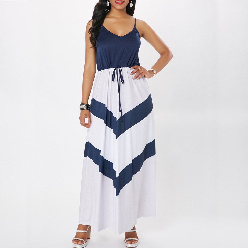 Casual Spaghetti Strap Dress Women Blue White Color Block Stitch Sleeveless Bohemian Maxi Summer Dress Lace Up Long Maxi Dress