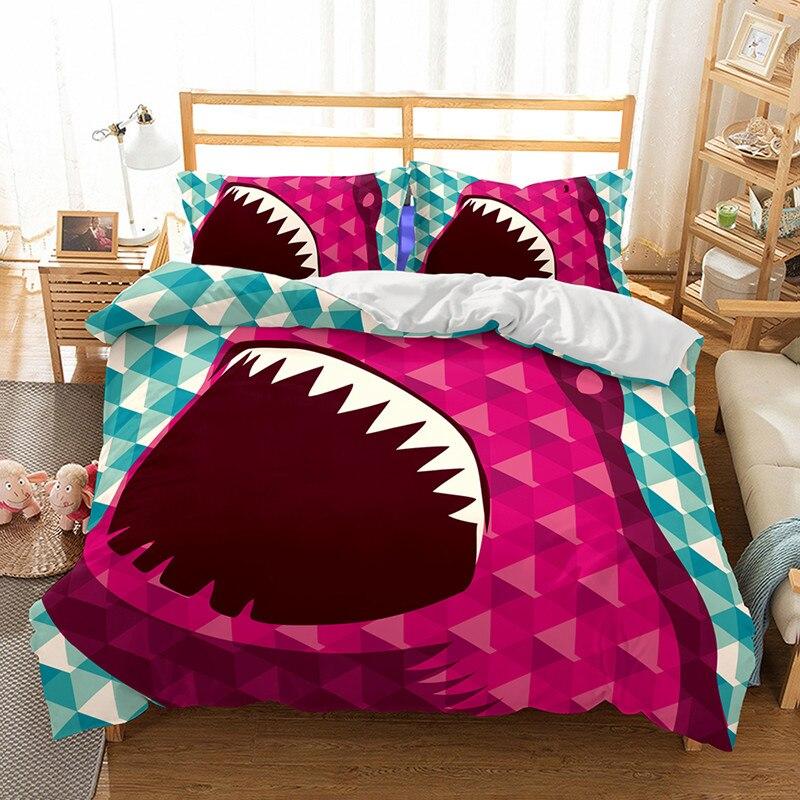 Fanaijia shark 3d Bedding Set queen size kids duvet Cover With Pillowcases bedclothes 3D bed sets