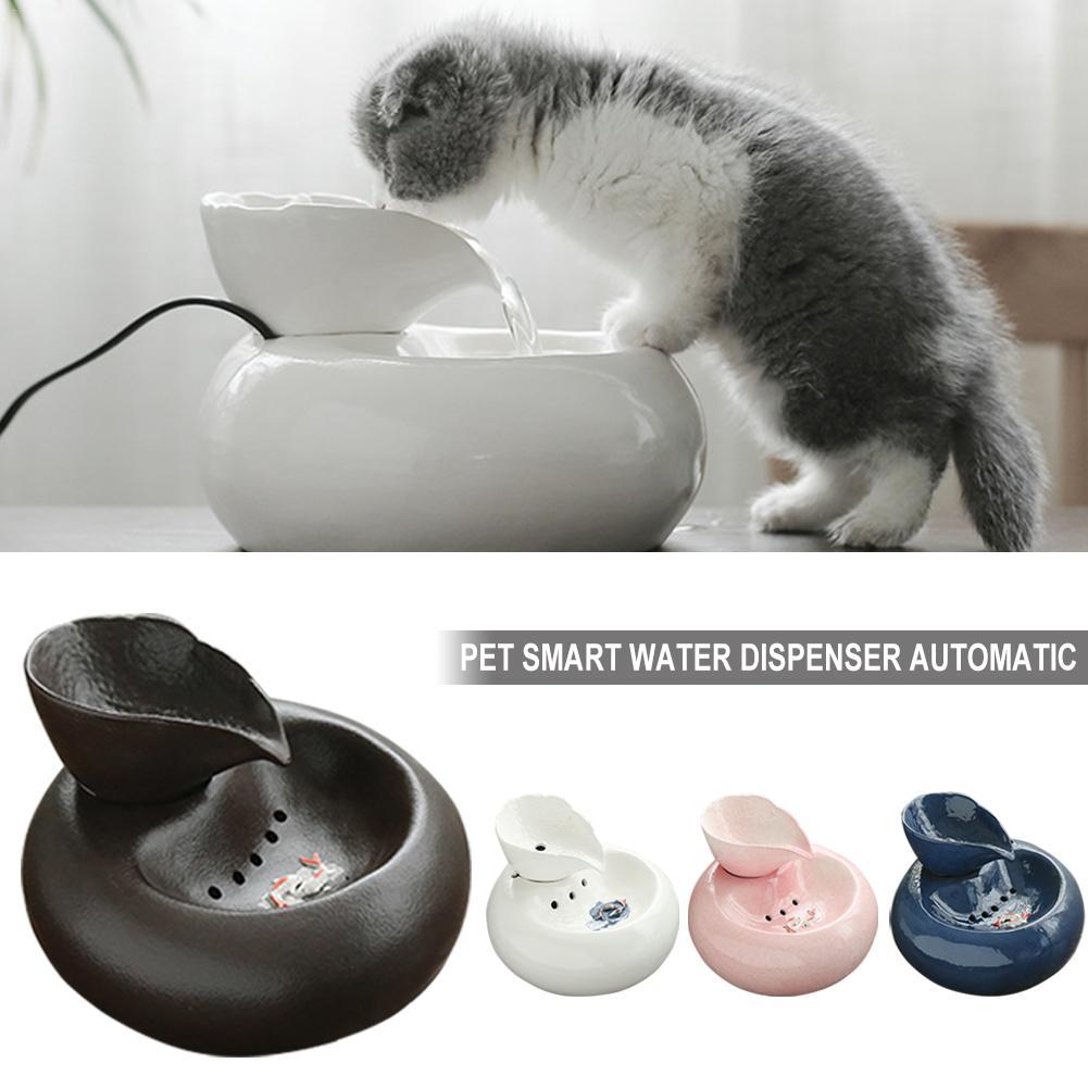 1 Pcs Kätzchen Welpen Haustier Wasser Dispenser 3d Katze Pet Brunnen Automatische Smart Hund Trinken Schüssel Haustier Produkt Keramik Pet Trinker Elegant Und Anmutig
