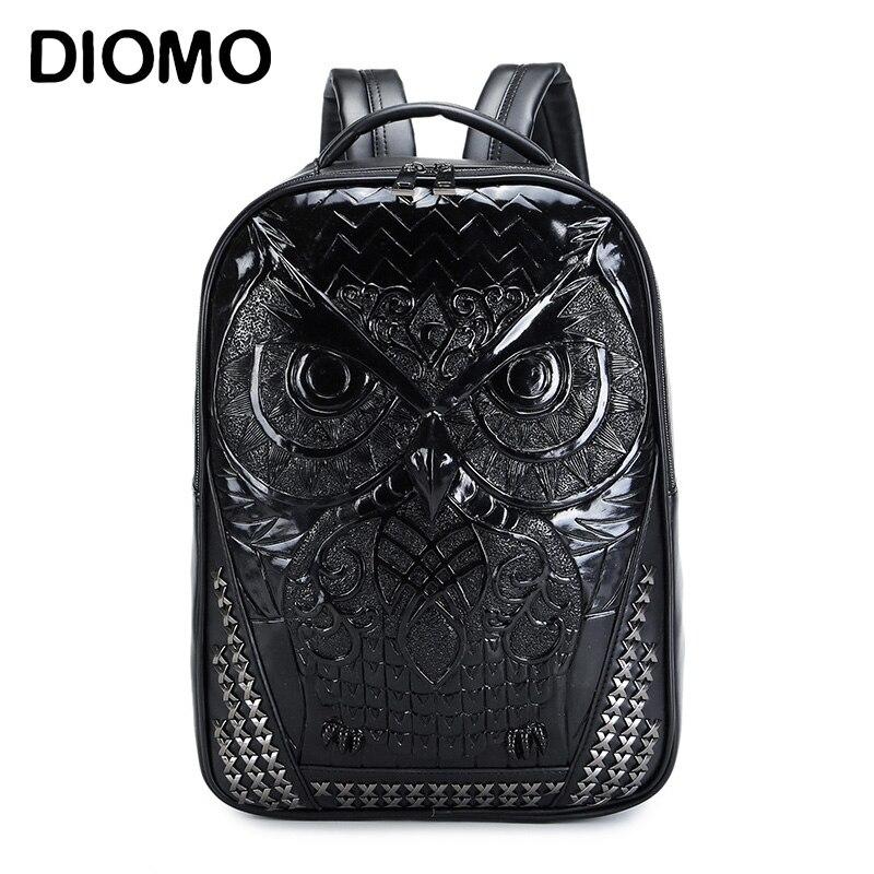 DIOMO Cool 3D hibou sac à dos grands sacs à dos d'ordinateur portable pour les femmes et les hommes sac à dos de haute qualité hommes sacs à dos