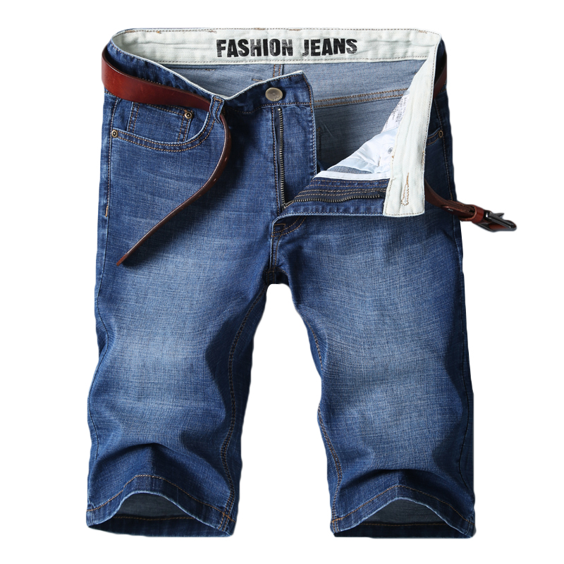 Denim Shorts Jeans Business Straight Casual Cotton Summer Brand Blue New Small Male Classic