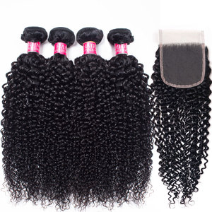 mongolian afro kinky curly 2/4 bundles with closure human hair bundles with closure brazilian hair weave bundles with closure