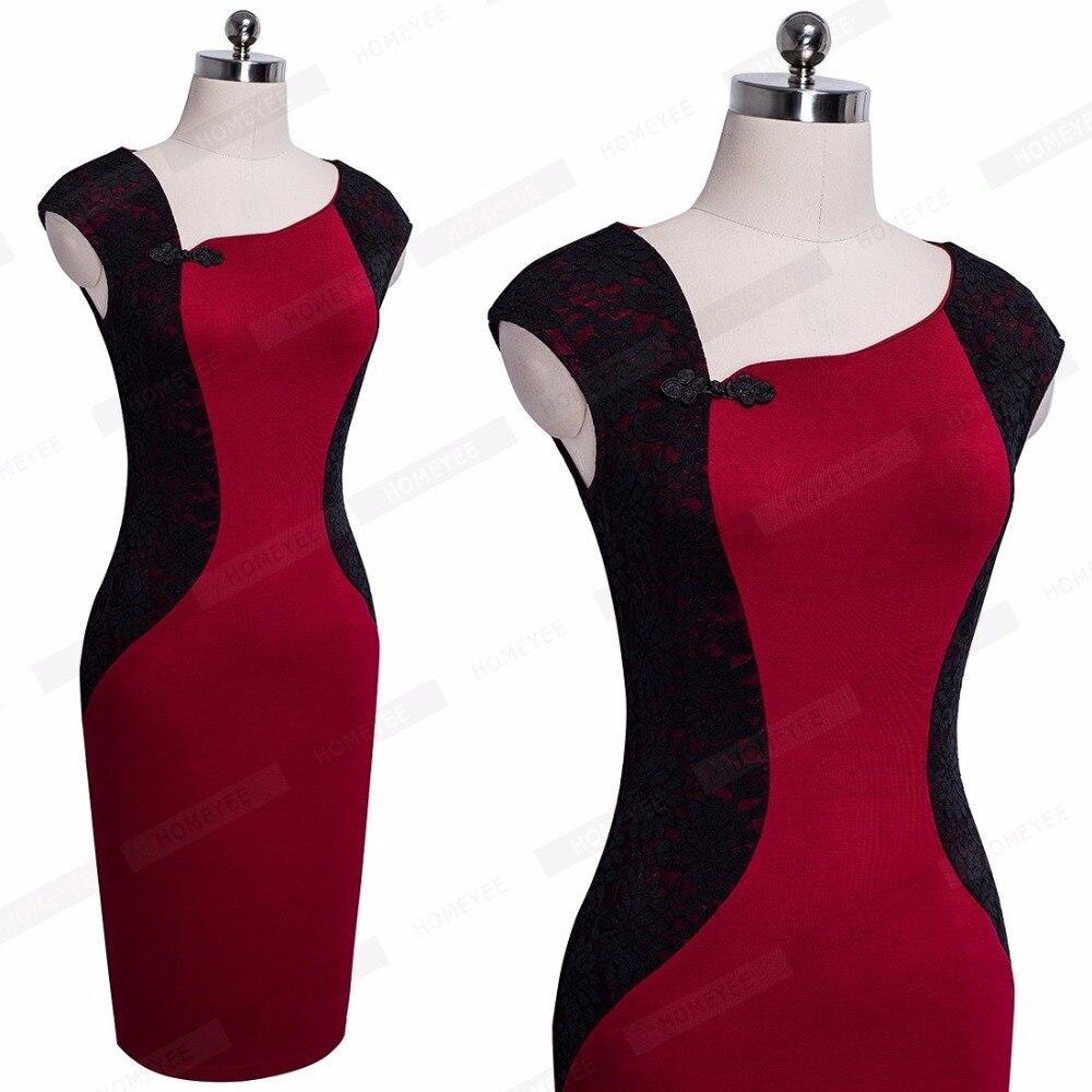 b14f773f495f1 Femmes élégant Ladylike Colorblock contraste gaine moulante robe Vintage  classique Style chinois bouton dentelle robe EB362 dans Robes de Mode Femme  et ...