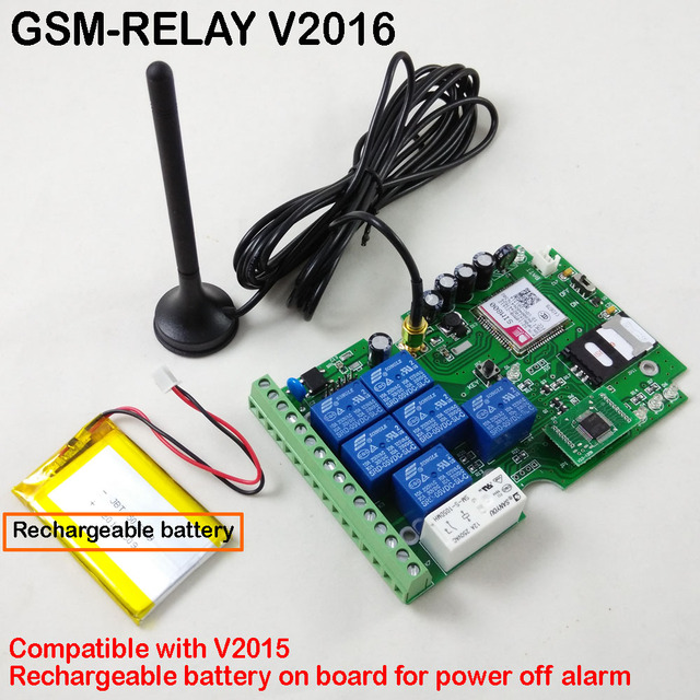 Post airmail  1pcs Seven output gsm relay sms call remote controller Rechargeable battery for power off alarm