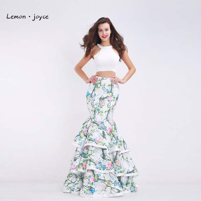 Fashionable Two-Piece Prom Dresses 2019 New Styles Floral Print O-neck Sleeveless  Long. placeholder ... c096ce10c5ee