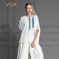 VOA 2018 шелк Лето сращивания Mujer De Moda Белый Элегантный Camisetas Mujer Verano Feminina Falbala с рукавами «летучая мышь» футболка Для женщин B562