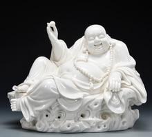 Elaborate Chinese Dehua white porcelain happy smiling Buddha statue No.4