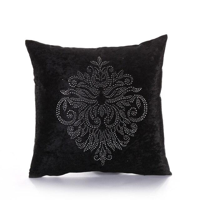 Velvet Rhinestone Floral Cushion Cover 40 40 40 Square Luxury Fascinating Rhinestone Decorative Pillows