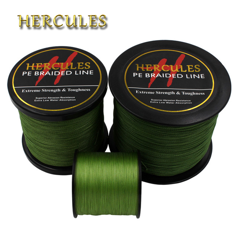Hercules PE Braided Fishing Line Army Green hengelsport multifilament Fishing Cord 4 Strands 100M 300M 500M 1000M 1500M 2000M