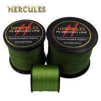 Hercules PE Linea di Pesca Intrecciata Army Verde hengelsport multifilamento Pesca Cavo di 4 Fili 100M 300M 500M 1000M 1500M 2000M