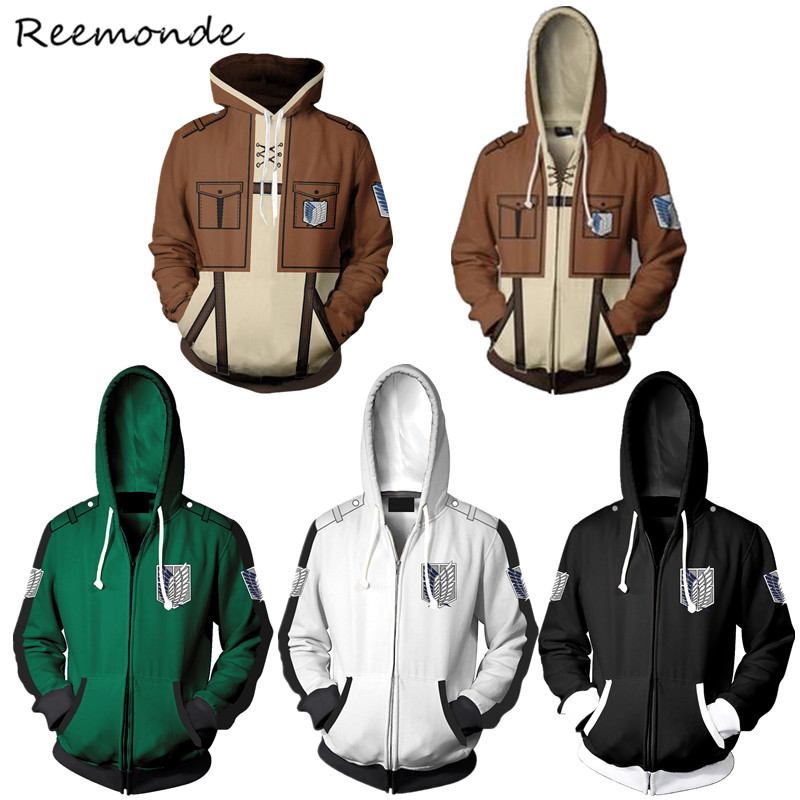 Anime Attack On Titan Cosplay Costumes 3D Printed Zipper Hoodies Jacket Mikasa Ackerman Winter Sweatshirt Coat For Women Men Boy