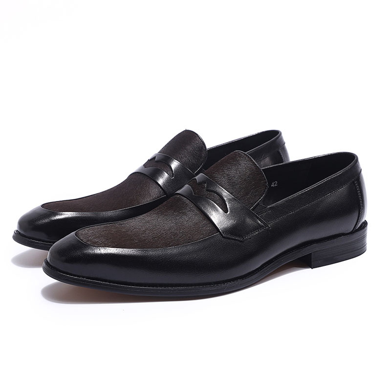 Brand New Luxury Men Penny Loafer Black Brown Patchwork Genuine Leather And Horsehair Slip On Dress Shoes Men's Casual Shoes