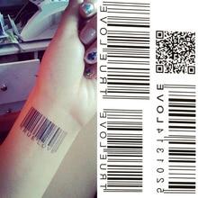 5pcs Waterproof Tattoo Stickers Temporary Tattoo European And American Black Two-dimensional Bar Code Temporary Tattoo M03125