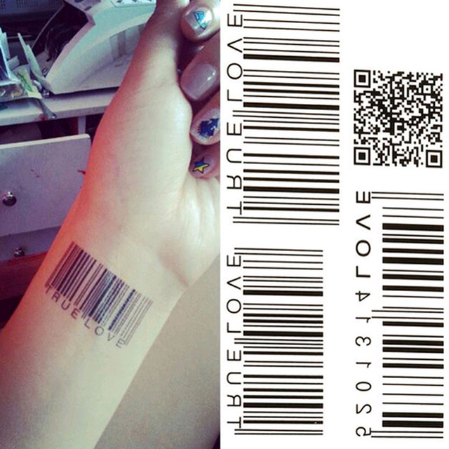 5pcs Waterproof Tattoo Stickers Temporary Tattoo European And American Black Two-dimensional Bar Code Temporary Tattoo M03125