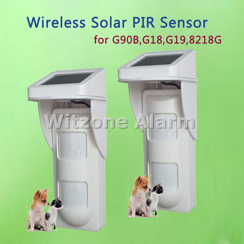 WIFI Alarm G90B Outdoor Motion Sensor Solar Powered External Weatherproof Pet Friendly PIR Detector with 2 PIR ...