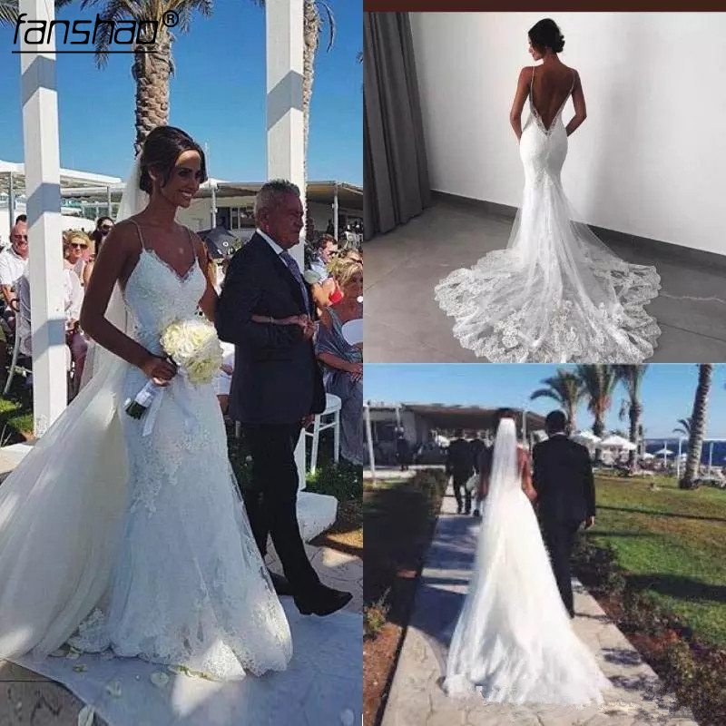 Sexy Spaghetti Lace Wedding Dresses With Detachable Tulle Train Backless LAce Appliqued Country Wedding Gown For Bridal