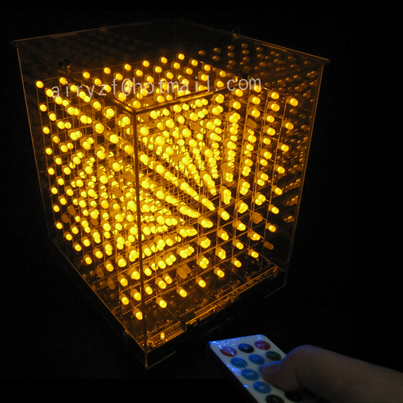 DIY 3D 8S cubeeds With excellent Animations 3D8 8x8x8 LED Display Christmas Gift led Music Spectrum