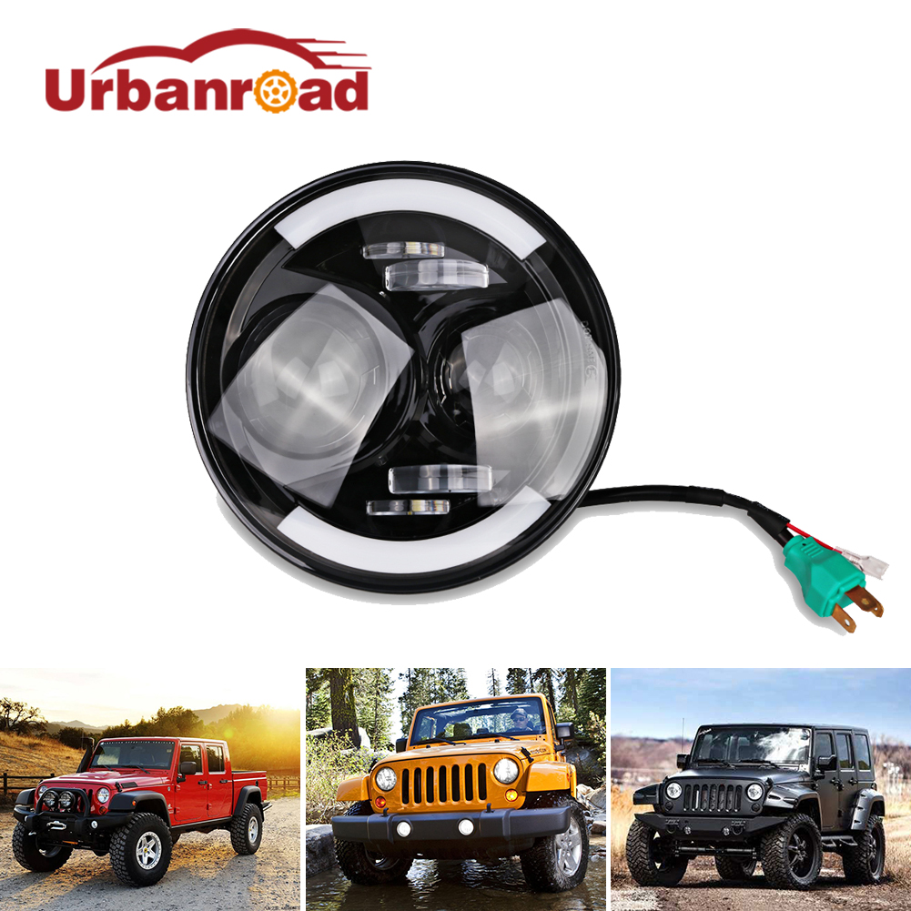 Urbanroad 1PC White 60w 7'' Inch Round Headlights With DRL Hi/Lo Beam Head Lamp For Jeep Wrangler Harley 7 Inch Headlamp 12V 2pcs new design 7inch 78w hi lo beam headlamp 7 led headlight for wrangler round 78w led headlights with drl