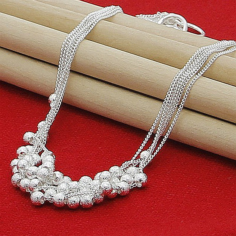 Wholesale 925 Silver Six Lines Of Scrub Beads Chain Necklace For Women Fashion Jewelry