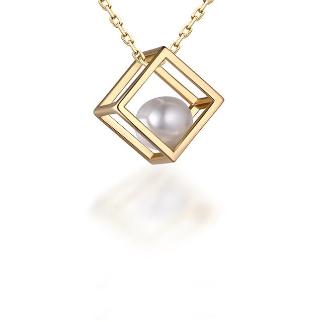 [YKIN] Pérola Cubo De Jóias Pingente de Prata 925 Colar de Pérolas Mulheres Fine Jewelry