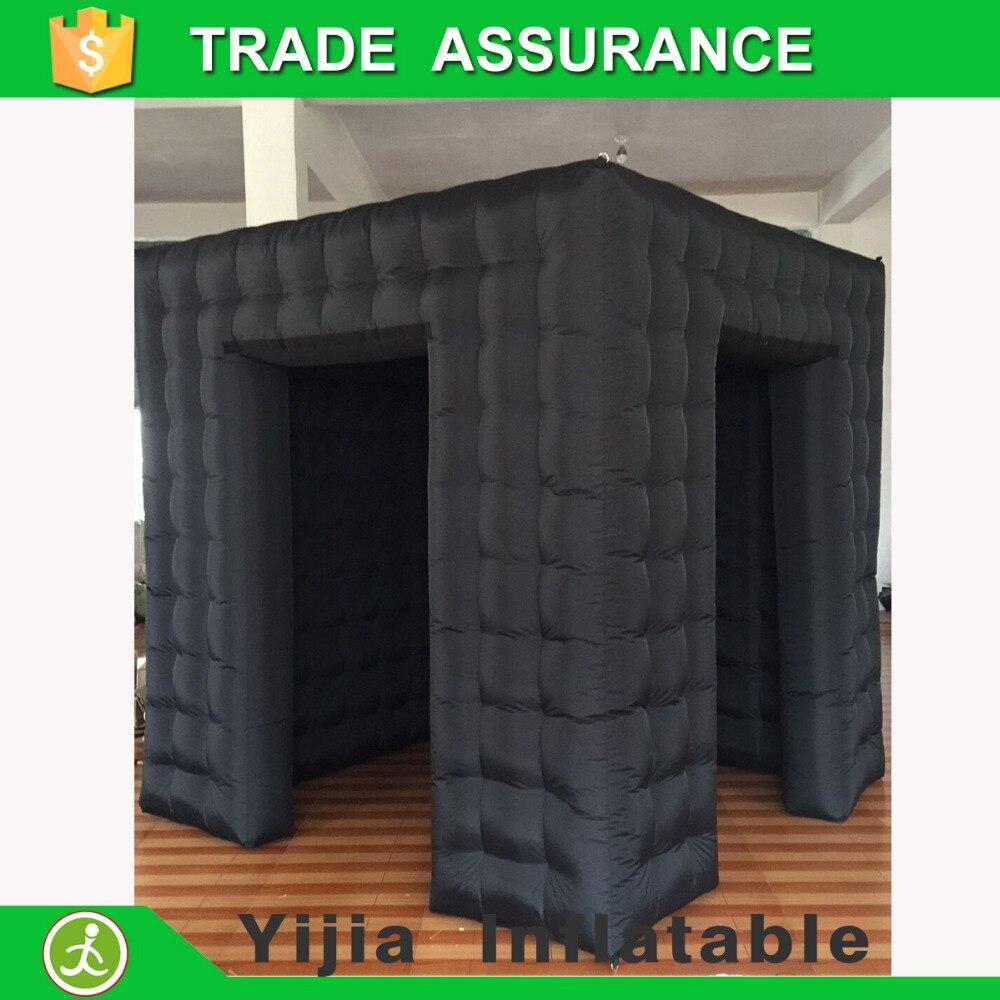 8ft черный цвет Photobooth открытым воздушный куб палатка надувные Photo Booth с дверью Корвер