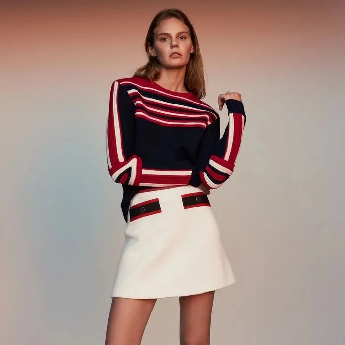 hot selling women Preppy Style strip round neck long sleeve pullovers knitwear  sweaters