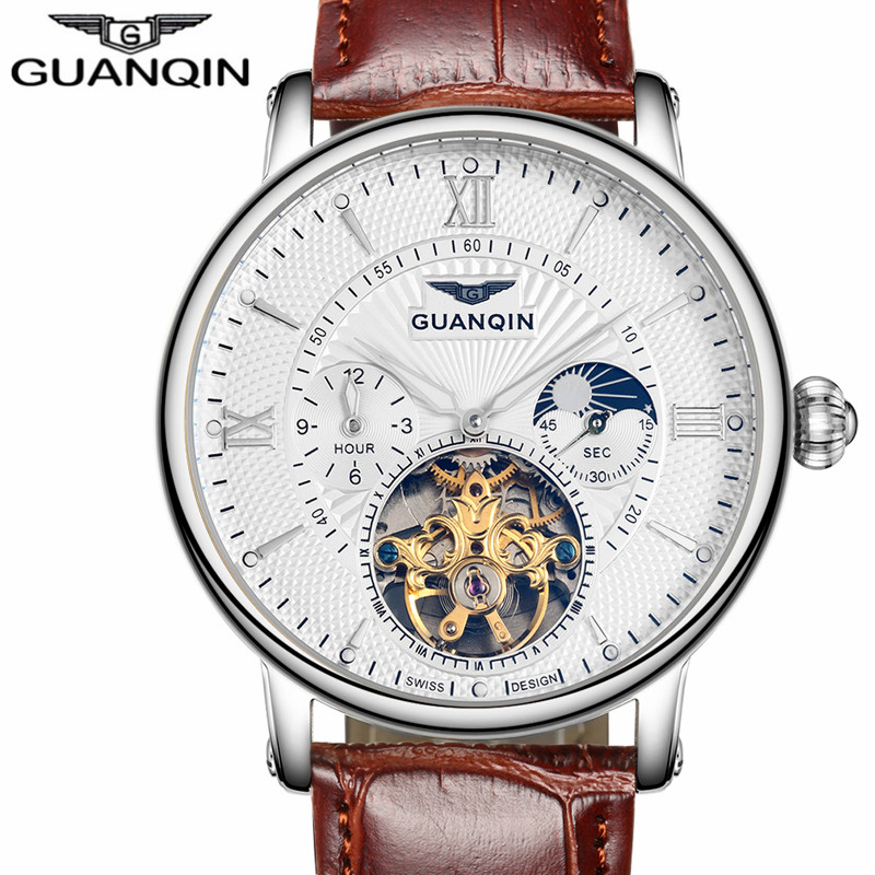 Mens Watches Top Brand Luxury GUANQIN 2017 Men Watch Sport Automatic Mechanical Leather Wristwatch relogio masculino top brand men automatic self wind watch guanqin date watch men s fashion casual leather mechanical wristwatch relogio masculino