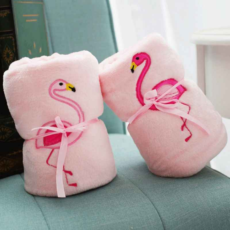 Double-sided Flamingo Fleece Blanket Soft Air Conditioning Flannel Blanket Bed Sheet Sleep Cover Travel Blanket