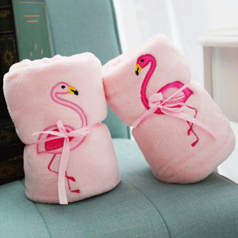 Doppelseitige Flamingo Fleece Decke Weichen Klimaanlage Flanell Decke Bettlaken Schlaf Abdeckung Reise Decke