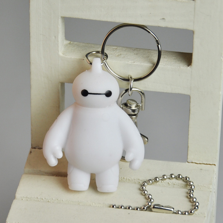 White Movie White Big Hero 6 Baymax 6cm Plastic Keychain Ring WAB