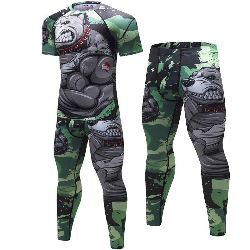Nouveaux costumes de Sport pour hommes Compression vêtements imprimés à séchage rapide Sport gymnases Fitness survêtements 2 pièces/ensembles