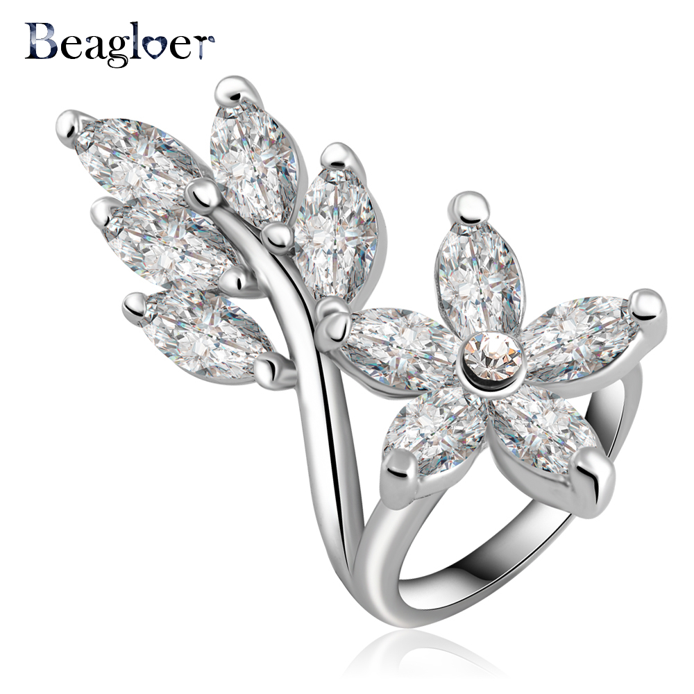 Beagloer New Arrival Noble Leaf Shape Engagement Rings/Eternity Rings With Zircon Crystal Jewelry Ri-HQ0165