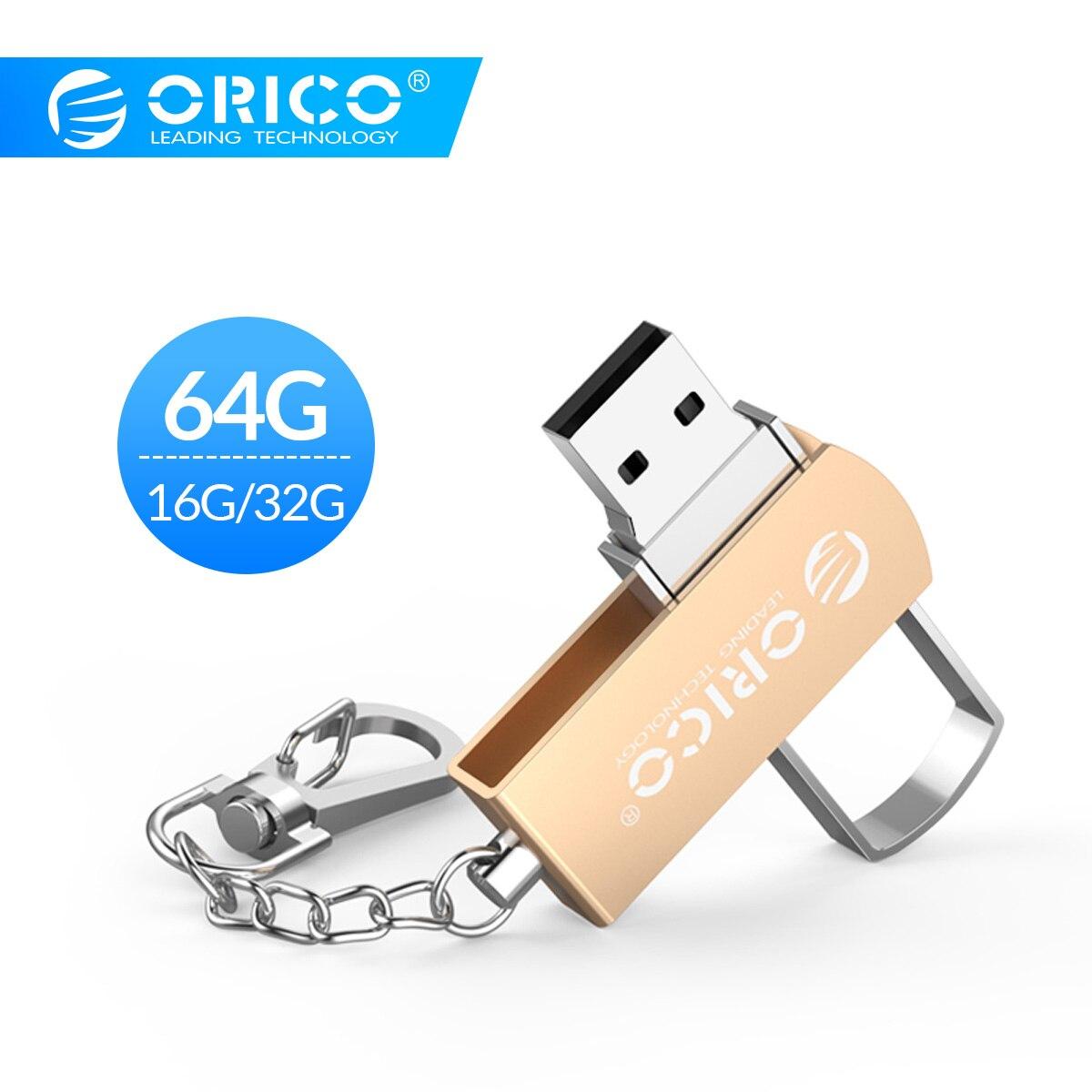 ORICO USB Flash Drive Metal 64GB 32GB 16GB USB 2.0 Flash Memory USB Stick Storage Flash Disk USB 2.0 Flash Drive