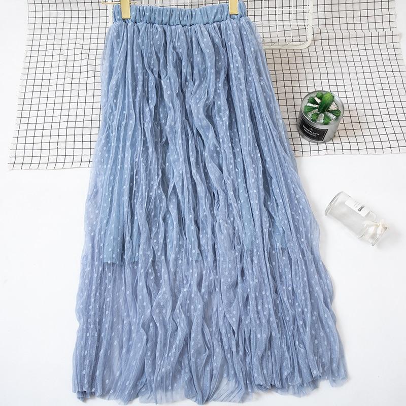 Autumn And Winter Women's Skirt New High Waist Skirt Solid Color Mesh Skirt Female Long Section Loose Thin Folds Skirt Women 2