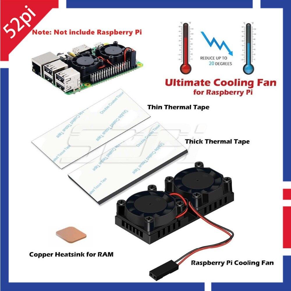 52Pi Neue Version 2.0! Dual Lüfter-kühlkörper mit Doppel Lüfter Reduzieren bis zu 20 Grad Für Raspberry Pi 3/2/NESPi fall