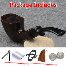Hot Handmade Ebony Filter Pipe Tobacco Smoking Accessories Bent Style W/ Gift Box Wooden Smoke pipe Filter Cigarette Holder