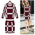 Women Autumn Winter Knitted Set Skirt and Knit long sleeve Blouses 2 piece Set Top and Skirt FS0105