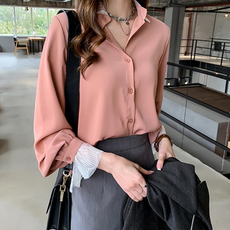 Women Blouses Office Lady Lace Blouse Top Spring Chiffon Women Long Sleeve Shirts Fashion Korean Women Blouse and Tops Plus Size