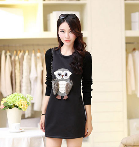 Black Red Owl Doll Appliques Casual Large Size M-XXL Women Winter Dress Thick Keep Warm Polar Fleece Knitted Long Sleeve D235