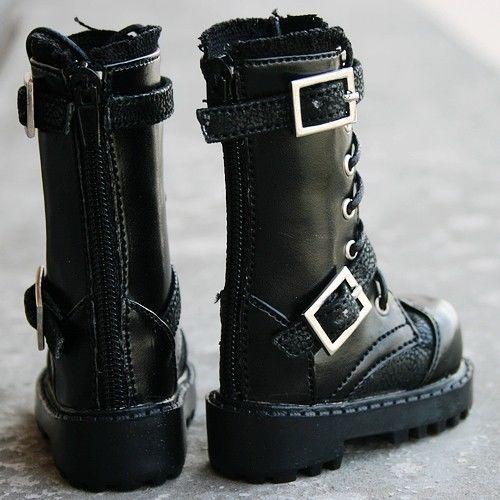 [wamami] 18# Black 1/3 SD DOD BJD Dollfie Leather Boots/Shoes 1 3 1 4 1 6 1 8 1 12 bjd wigs fashion light gray fur wig bjd sd short wig for diy dollfie