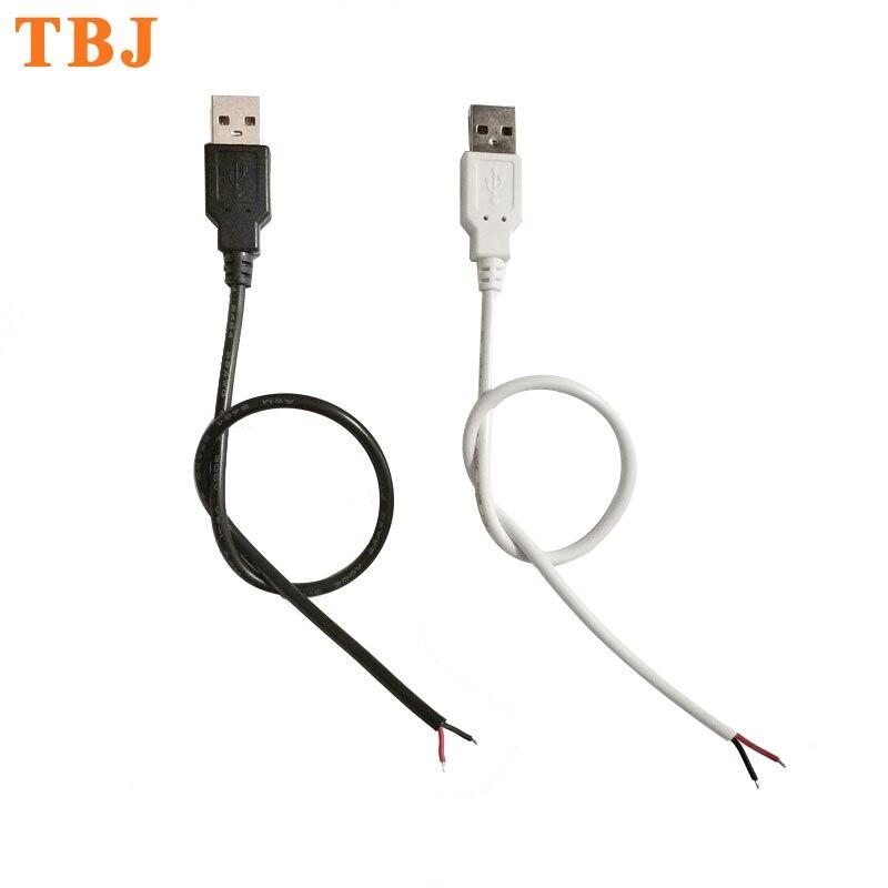 22awg 30cm 50cm 1m 2pin fio usb conector diy usb conectar cabo para a única cor 5050 3528 5730 luz de tira conduzida flexível