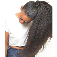 Kinky Straight Remy Clip In Human Hair Extensions Brazilian Natural Hair Clip Ins Black Color Full Head CARA Products