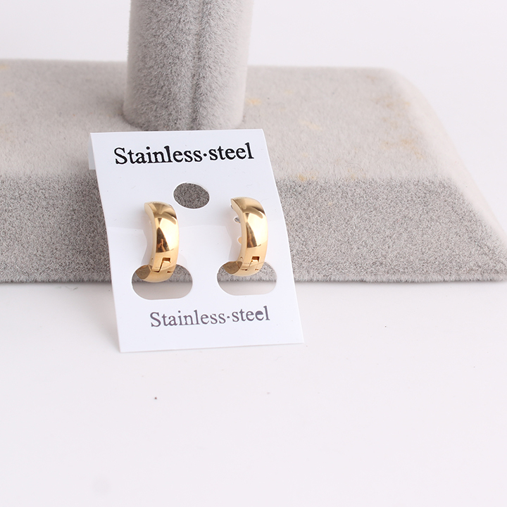 free shipping Punk gold color Smooth 316L Stainless Steel hip hop earrings fashion mens jewelry wholesale