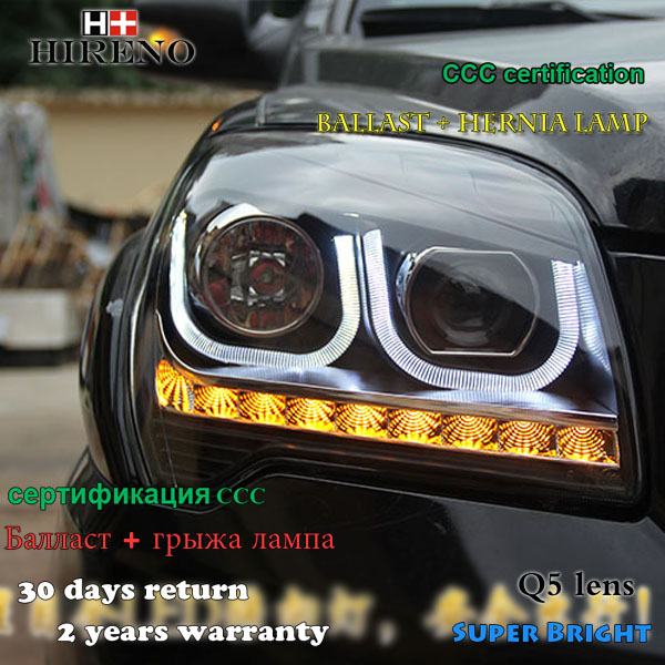 Hireno Headlamp for 2007-2017 KIA Sportage Headlight Assembly LED DRL Angel Lens Double Beam HID Xenon 2pcs headlight for kia k2 rio 2015 including angel eye demon eye drl turn light projector lens hid high low beam assembly