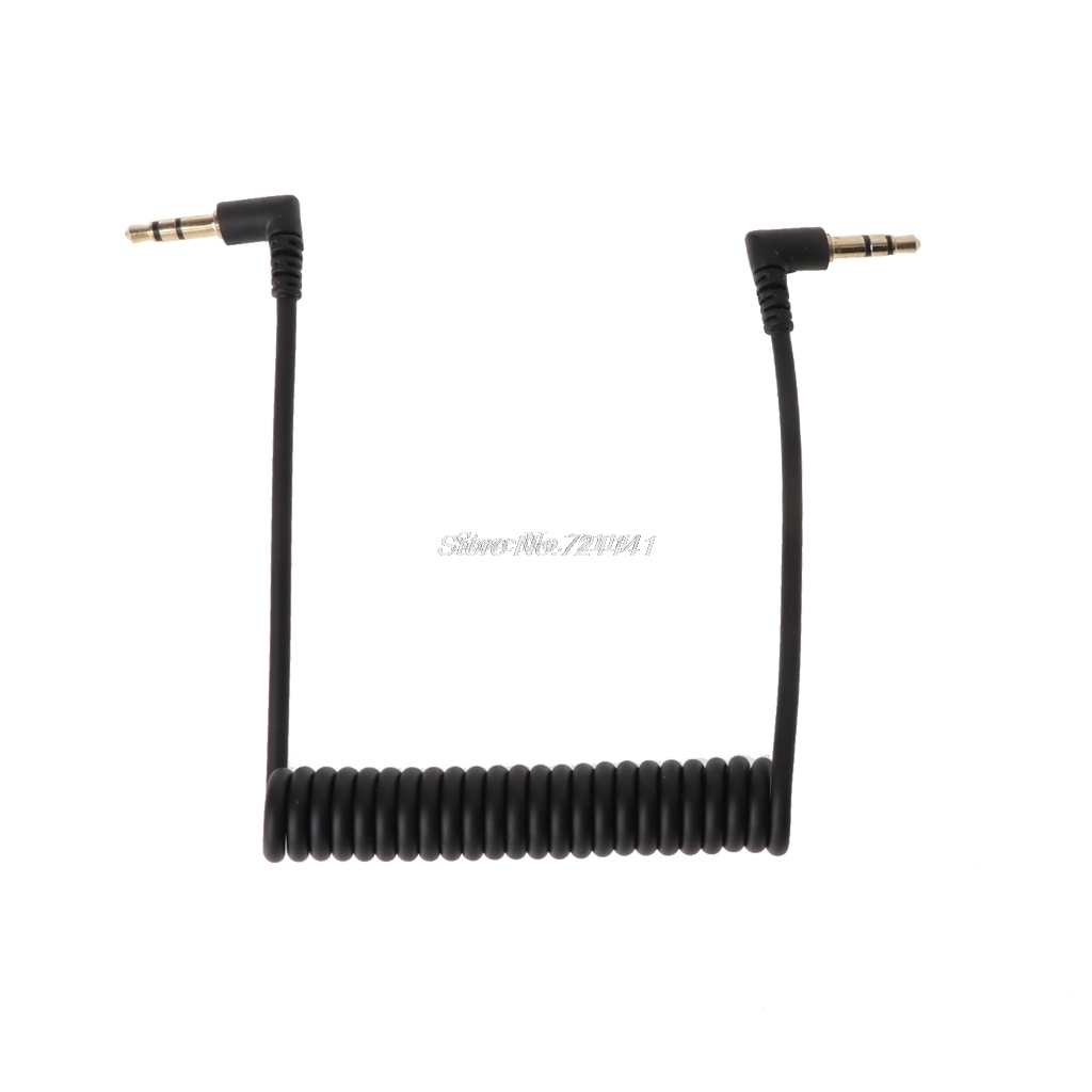 90 Degree Right Angled Retractable Spring Coiled 3.5mm Jack Male To Male Stereo Audio AUX Cable For Car AUX Electronics Stocks