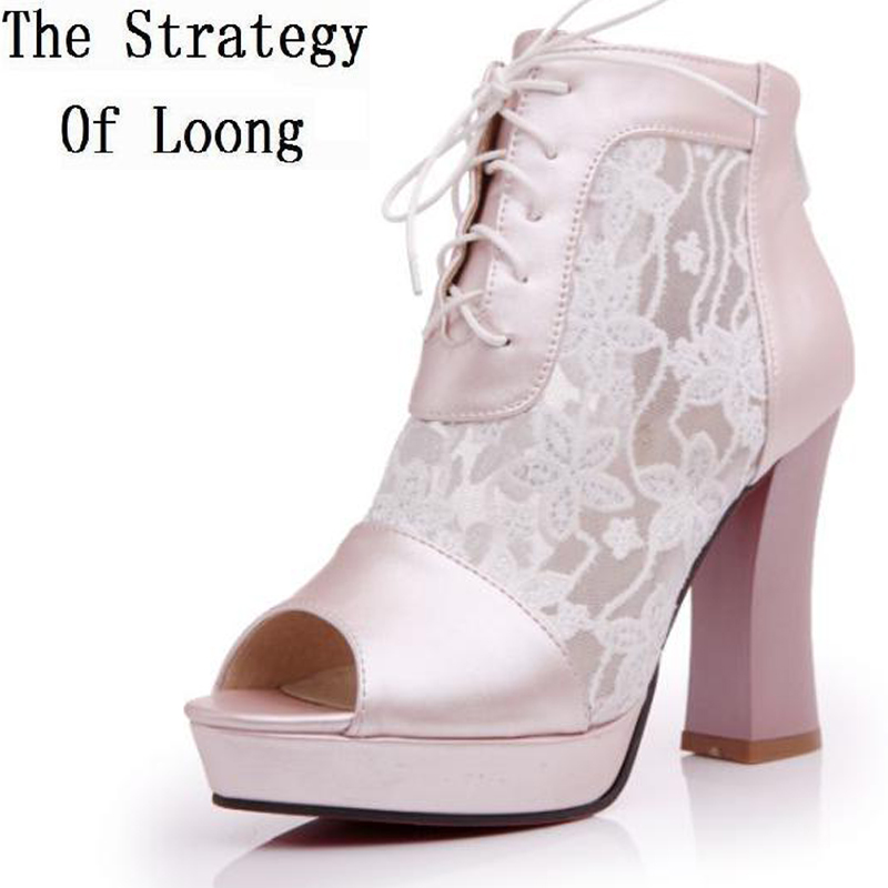 Lace Up Cut Out Peep Toe Thick High Heel font b Women b font Summer Ankle