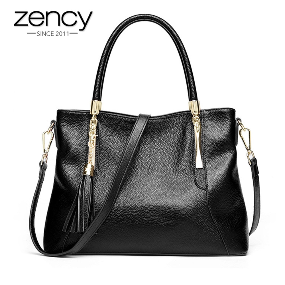 Zency 100 Genuine Leather Tote Handbag Classic Black Women Shoulder Bag With Tassel Fashion Hobos Lady