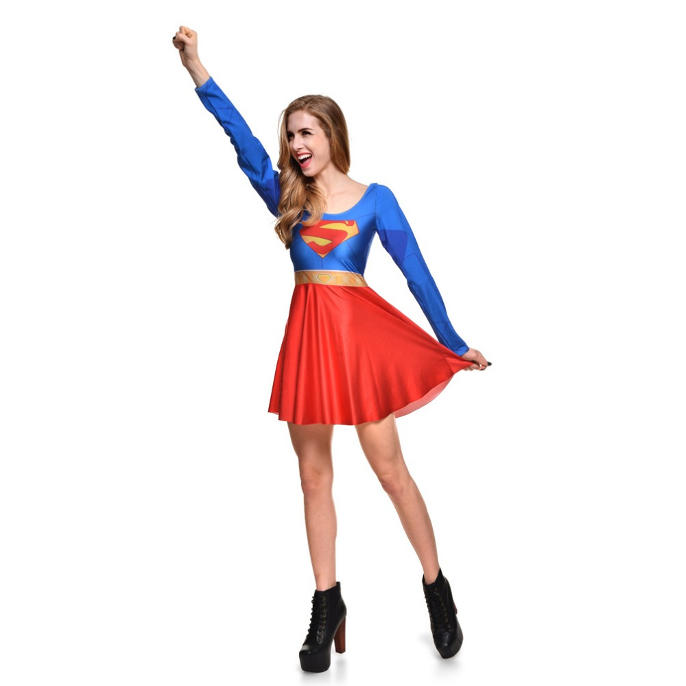 Female Superman Dresses Costumes summer European and American Halloween Sailor Moon Cosplay Anime Costume Umbrella Skirt