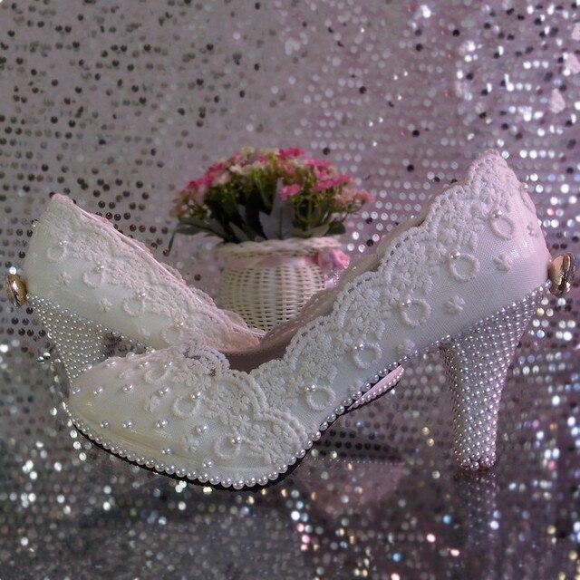 Кружева цветок свадебные туфли на высоком каблуке платформа белый жемчуг кристалл лук свадебная обувь невесты обувь