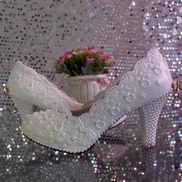 Lace flower wedding shoes high heeled platform white pearl crystal bow bridal shoes bridesmaid shoes